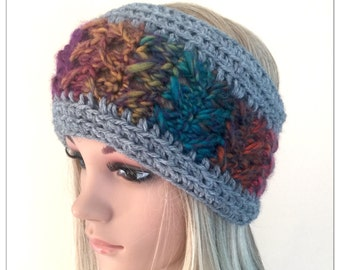 Designer unique headband womens teens hand crocheted knit dread tube wrap hippy hippie ooak boho ear warmer dreadlock accessory ski rainbow
