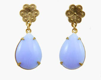 Periwinkle Pear Flower Earrings