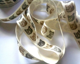 """Cat Face Canvas Ribbon Trim, Black / Brown/ Ivory, 3/4"""" inch wide, 1 yard, For Scrapbook, Mixed Media, Home Decor,Stationery"""