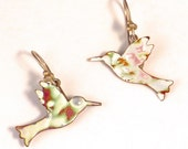 Hummingbird earrings, Small Enamel Copper, Nature Jewelry, Gift for Ornithologist, Birds in Flight