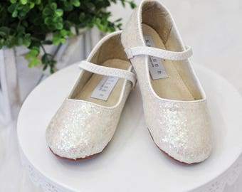 Infant Girl Shoes, Toddler Shoes, Little Kids & Big Kids Shoes - OFF WHITE Iridescent ROCK glitter for flower girls