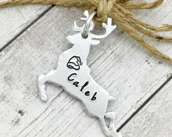 Reindeer Christmas Ornament - Personalized Ornament Rudolph - Kids Ornament - Small Name Ornament - Hand Stamped Ornament
