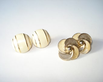 1980s Button Earrings 2 Pairs of Fashion Enamel Round Flower - Retro Jewelry 80s