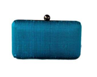 Teal black minaudiere clutch /Summer evening purse/Custom made/Teal Summer wedding/Clamshell clutch/Gift for her/Anniversary box clutch
