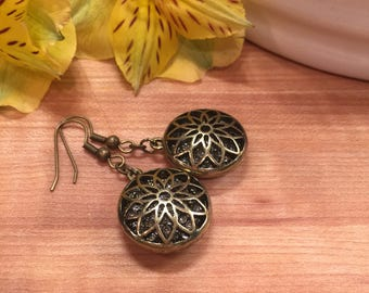 Earrings, Front Cutout Etched Flower Center, Bronze Tone, Enbeded Center Crystals, Beautifully Etched Flower back, Free Shipping, #72
