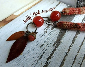 Autumn Beauty fiber necklace- burnt orange. cream. peach. polymer clay persimmon acorn and leaves. mixed media rustic fall. Jettabugjewelry