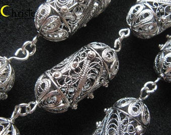 55% OFF Handmade Filigree Beads Silver Plated Brass Tube / Lantern 15x35mm