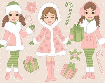 Christmas Girls Clipart - Digital Vector, Xmas, Winter, Merry Christmas Girl Clip Art