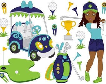 50% OFF SALE Golf Clipart - Digital Vector Golf, African American Girl, Golf, Golfer, Golf Clip Art for  Personal and Commercial Use and
