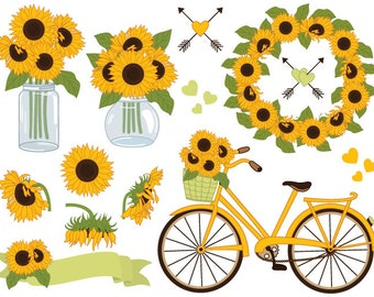 70% OFF SALE Sunflowers Clipart - Digital Vector Sunflowers Clipart, Mason Jar Clipart, Sunflower Wreath, Bicycle, Sunflower Clip Art