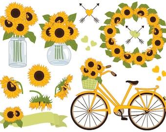 Sunflowers Clipart - Digital Vector Sunflowers Clipart, Mason Jar Clipart, Sunflower Wreath, Bicycle, Sunflower Clip Art
