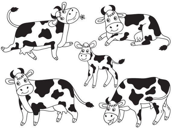 Cows Clipart Digital Vector Farm Animal Calf Barn Yard