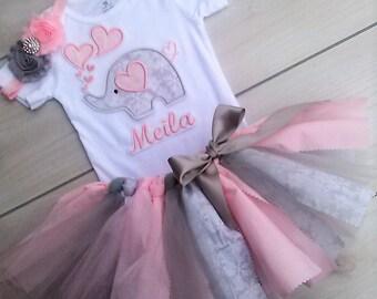 3 Piece Valentine Outfit/ Baby Girl Elephant Tutu/Scrappy Tutu/Birthday Tutu