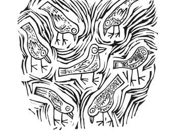 Pecking - linocut art