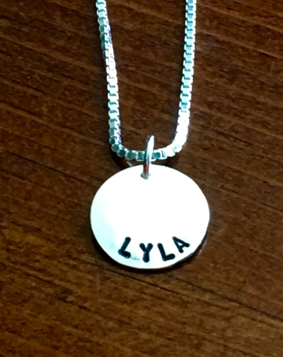 Personalized Name Necklace- Girls Necklace- Mom Necklace- Bridesmaid Gift- Name Charm Necklace- Sterling Silver Jewelry- Hand Stamped