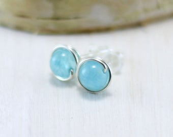 Aquamarine Stud Earrings, Sterling Silver Blue Aquamarine Earrings Wire Wrapped March Birthstone Post Earrings