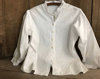 French White Cotton Chemise Blouse, Button Down Shirt, Long Sleeves