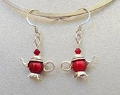 Red Teapot Earrings Tea Time