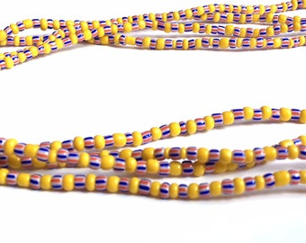 Mustard Yellow with Blue & Red Stripes Handmade African Waist Bead