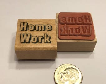 """small """" Home Work """" rubber stamp, 20 mm (F1)"""