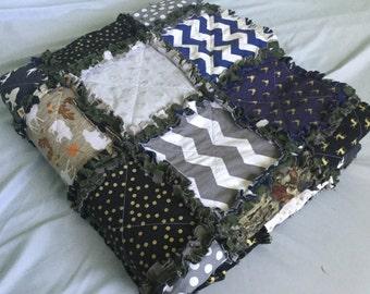 Custom Made Queen Size Rag Quilt - Camo