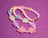 Avon Butterfly Necklace In Colorful Pastels - Vintage 1987