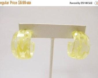 On Sale Vintage Pale Yellow Hoop Earrings Item K # 2951