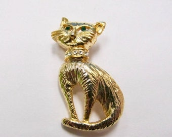 On Sale Vintage Rhinestone Kitty Cat Pin Item K # 2240