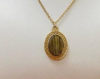 On Sale SARAH COVENTRY Plastic Tiger Eye Pendant Necklace Item K # 2598