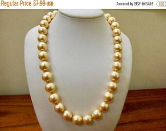 On Sale Vintage Golden Faux Pearl Necklace Item K # 2958