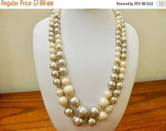On Sale Vintage Off White and Grey Faux Pearl Double Strand Necklace Item K # 686