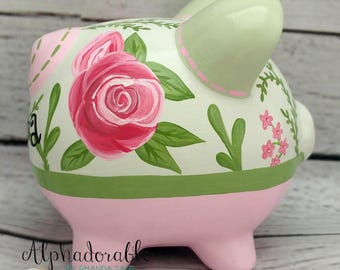 Personalized Piggy bank, Artisan hand painted ceramic piggy bank ~ Roses for bella design  pink and green