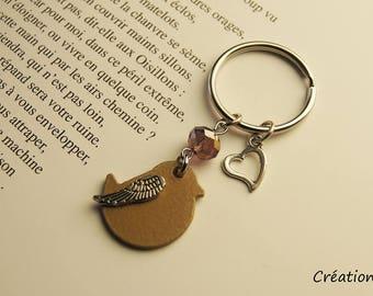 Bronze bird keyring,bird keychain,gold,bird,summer,nature,spring,outside,gift,mother,sister,love,heart,unique,handmade,soft pink