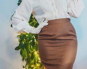 Vintage Brown High Waisted Skirt