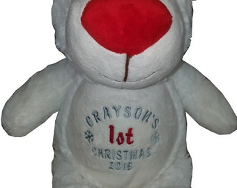 Polar bear stuffed animal - personalized stuffed keepsake - Christmas present - embroidered gift