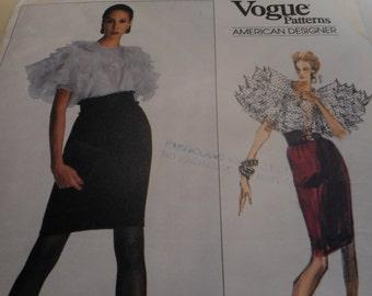 Vintage 1980's Vogue 2185 American Designer Oscar de la Renta Blouse and Skirt Sewing Pattern, Size 10 Bust 32 1/2