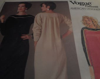 Vintage 1980's Vogue 1389 American Designer Geoffrey Beene Dress Sewing Pattern, Size 10 Bust 32 1/2