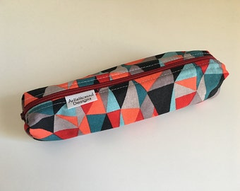 Pencil Case, Pencil Pouch, School Supply – Red Geometric - Toiletry & Cosmetics Bag