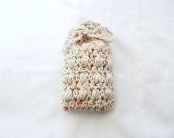 Crochet Soap Saver, Soap Sack, Massaging Soap Saver, Crochet Soap Pouch in Beige with Pastel Specks - 100% Cotton - Made to Order