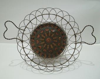 Victorian Wire Ware Basket with Handpainted Wood Bottom Norwegian Scandinavian Antique 1890's