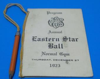Vintage Dance Card Eastern Star Ball December 1923 Dancing Original Pencil