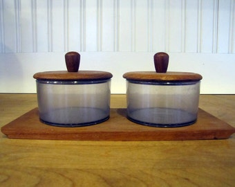 1960's Luthje Danish Modern Condiment Server Set, Teak, Acrylic, Condiment, Pot, Server, Jar, Set, Danish Modern, Luthje, 1960's, 1970's