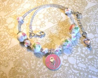 Girls First Communion Necklace with Commemorative Medal and Sweet Roses