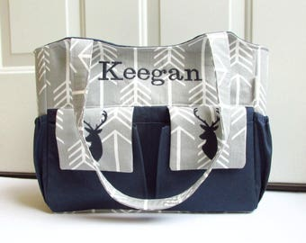 Personalized Deer Diaper Bag in Gray Arrows and Navy Blue with Monogramming