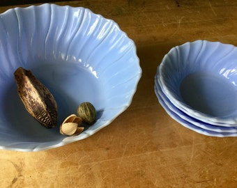 Blue Delphite Glass Bowls, Salad Serving Set, Vintage Serving Bowls, Blue Glass, Antique Glass, Salad Dessert Bowls, Blue Milk Glass