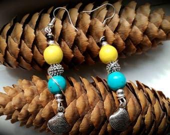Gipsy boho earrings, yellow howlite earrings, handmade semi precious gemstones earrings, chic earrings, folk and ethnic style, old style
