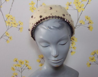 Vintage 60s Oatmeal Rounded Studded Hat Vintage Fur Felt Hat Neutral Furry Hat  Marche Exclusive