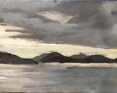 """10:07pm sketch - 4.5""""x8"""" - original encaustic painting peaceful, impressionist, landscape, seascape, clouds, ocean"""