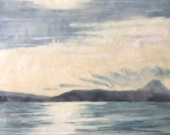 morning walk - 16x16 original encaustic painting peaceful, impressionist, landscape, clouds, sea, mountains