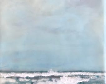 on the beach - 8x6 - original encaustic painting peaceful, impressionist, landscape, clouds, sea, waves, coast